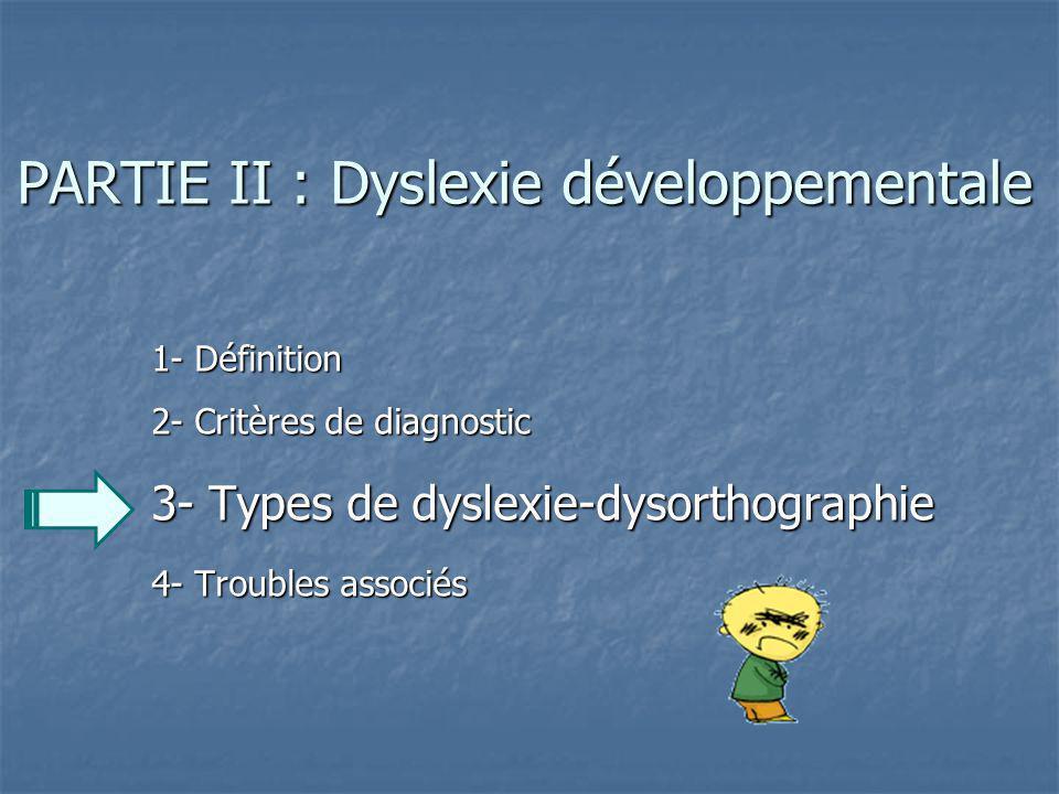 PARTIE II : Dyslexie développementale 1- Définition 2- Critères de diagnostic 3- Types de dyslexie-dysorthographie 4- Troubles associés