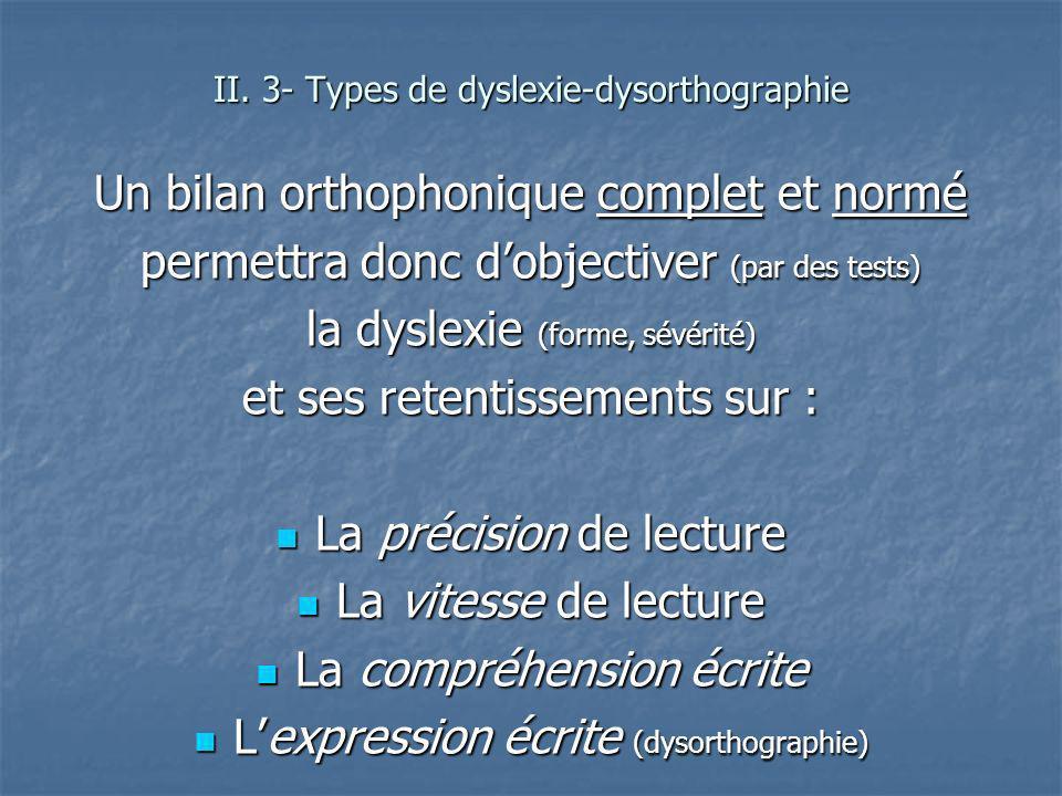 Un bilan orthophonique complet et normé permettra donc dobjectiver (par des tests) la dyslexie (forme, sévérité) et ses retentissements sur : La préci