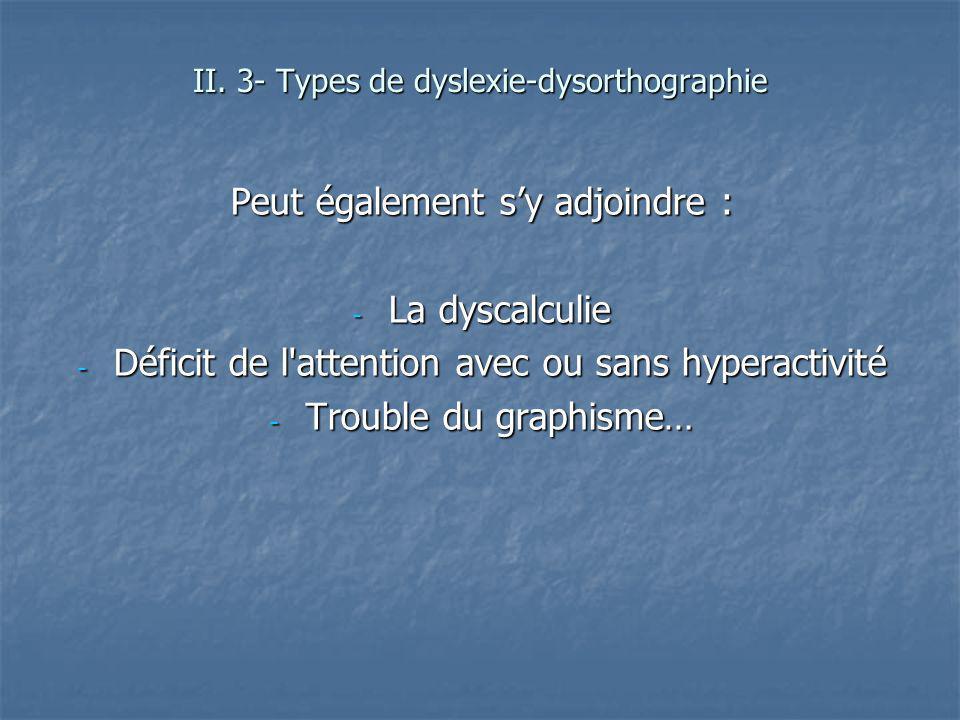 Peut également sy adjoindre : - La dyscalculie - Déficit de l'attention avec ou sans hyperactivité - Trouble du graphisme… II. 3- Types de dyslexie-dy