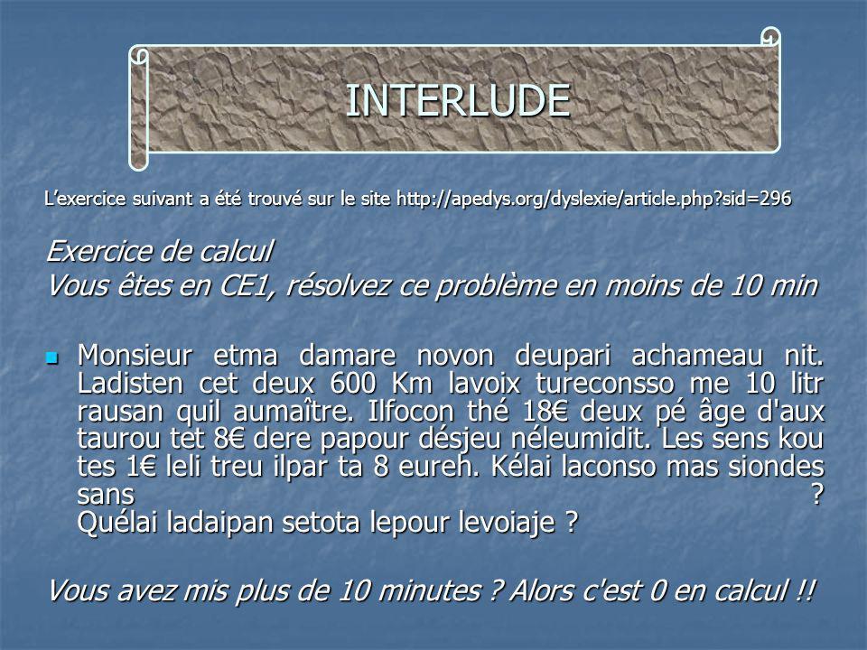Lexercice suivant a été trouvé sur le site http://apedys.org/dyslexie/article.php?sid=296 Exercice de calcul Vous êtes en CE1, résolvez ce problème en