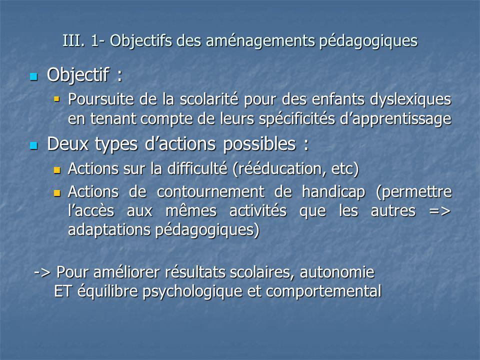 Objectif : Objectif : Poursuite de la scolarité pour des enfants dyslexiques en tenant compte de leurs spécificités dapprentissage Poursuite de la sco