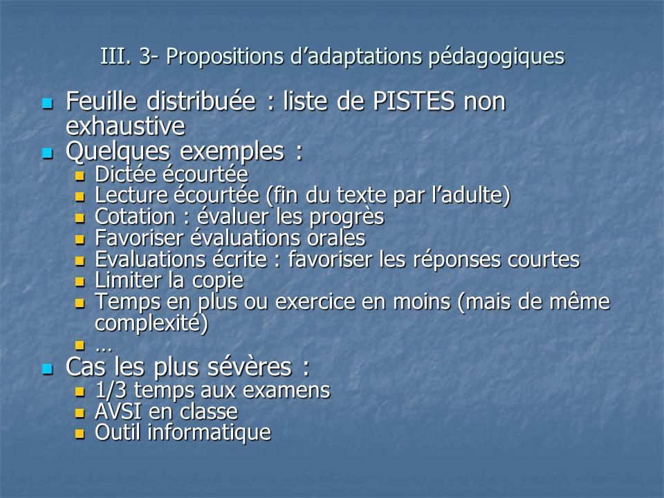 Feuille distribuée : liste de PISTES non exhaustive Feuille distribuée : liste de PISTES non exhaustive Quelques exemples : Quelques exemples : Dictée