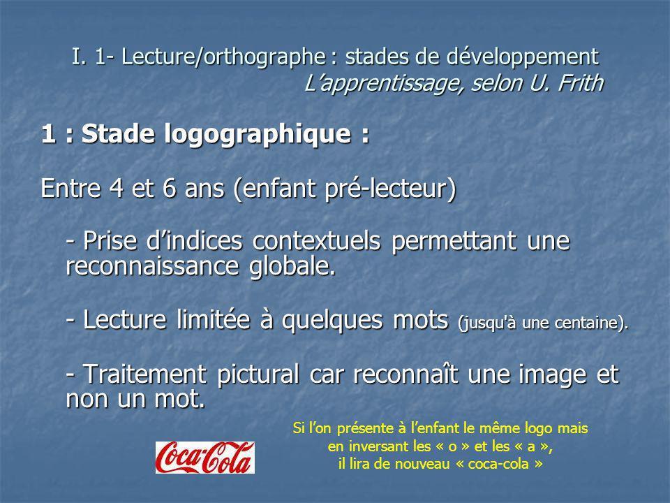 1 : Stade logographique : Entre 4 et 6 ans (enfant pré-lecteur) - Prise dindices contextuels permettant une reconnaissance globale. - Lecture limitée