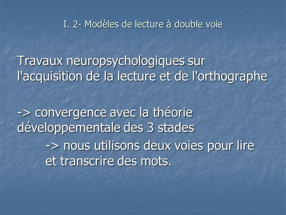 Travaux neuropsychologiques sur l'acquisition de la lecture et de l'orthographe -> convergence avec la théorie développementale des 3 stades -> nous u