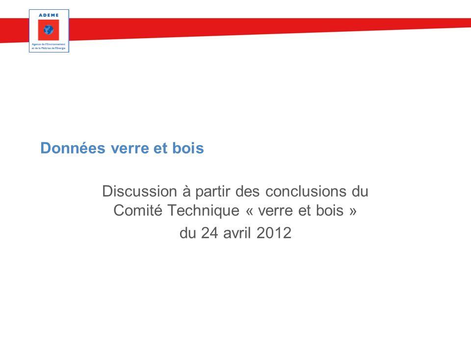 Données verre et bois Discussion à partir des conclusions du Comité Technique « verre et bois » du 24 avril 2012