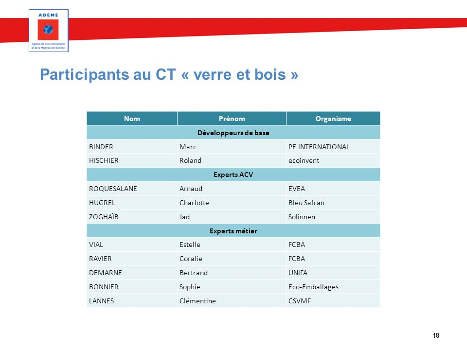 18 Participants au CT « verre et bois » NomPrénomOrganisme Développeurs de base BINDERMarcPE INTERNATIONAL HISCHIERRolandecoinvent Experts ACV ROQUESA