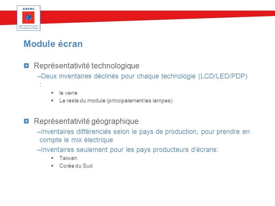 Module écran Représentativité technologique –Deux inventaires déclinés pour chaque technologie (LCD/LED/PDP) : le verre Le reste du module (principale