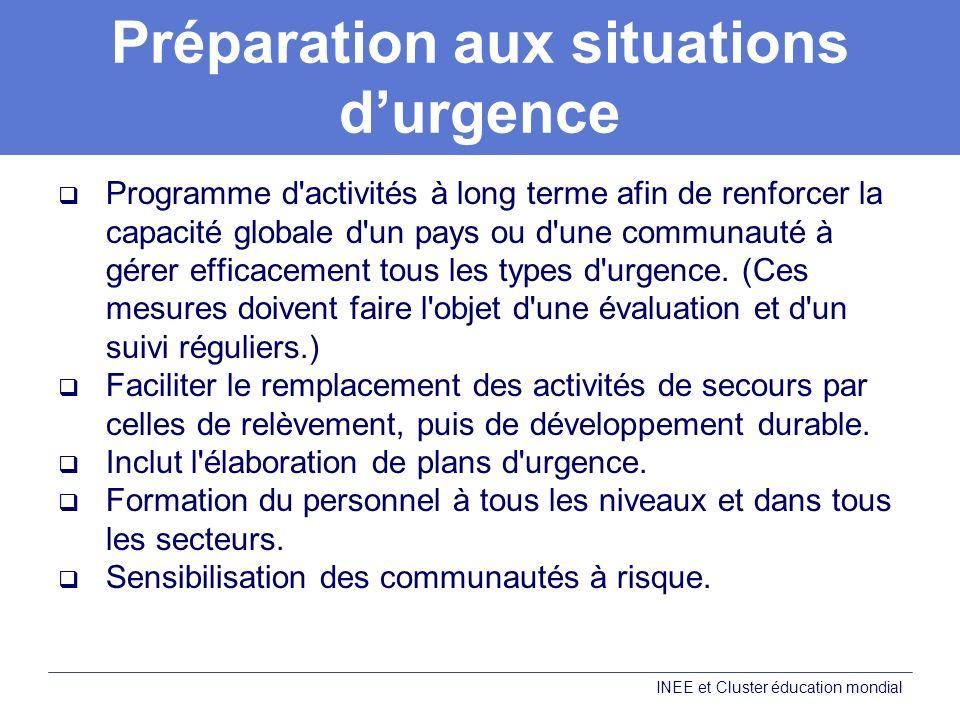 Préparation aux situations durgence Programme d activités à long terme afin de renforcer la capacité globale d un pays ou d une communauté à gérer efficacement tous les types d urgence.