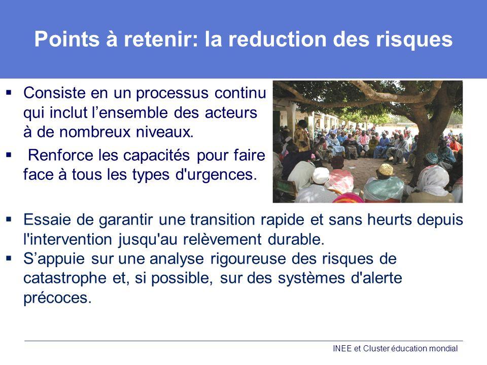Points à retenir: la reduction des risques Consiste en un processus continu qui inclut lensemble des acteurs à de nombreux niveaux.
