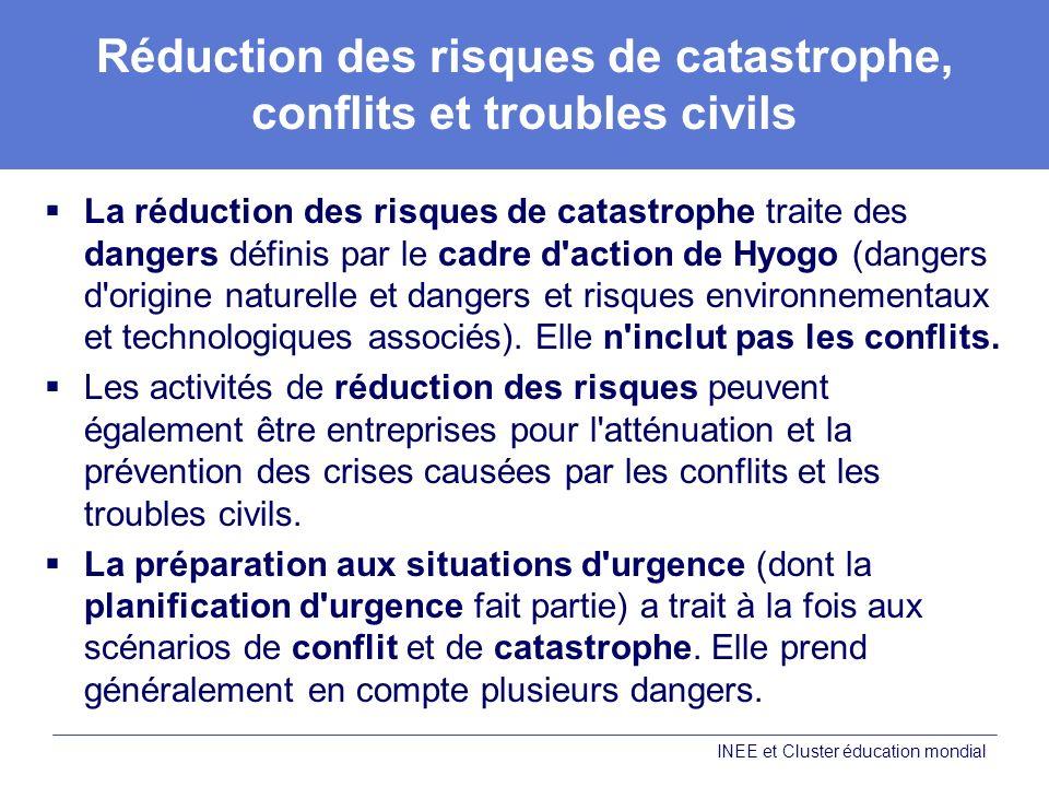 Réduction des risques de catastrophe, conflits et troubles civils La réduction des risques de catastrophe traite des dangers définis par le cadre d action de Hyogo (dangers d origine naturelle et dangers et risques environnementaux et technologiques associés).