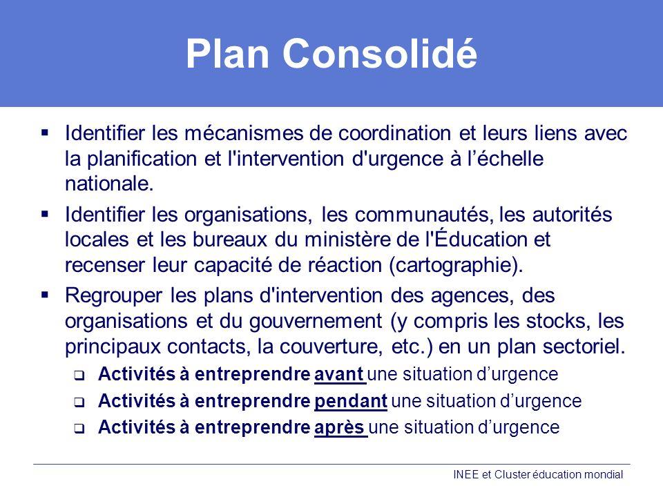 Plan Consolidé Identifier les mécanismes de coordination et leurs liens avec la planification et l intervention d urgence à léchelle nationale.