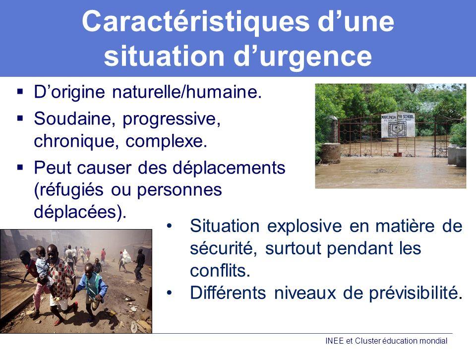 Caractéristiques dune situation durgence Dorigine naturelle/humaine.