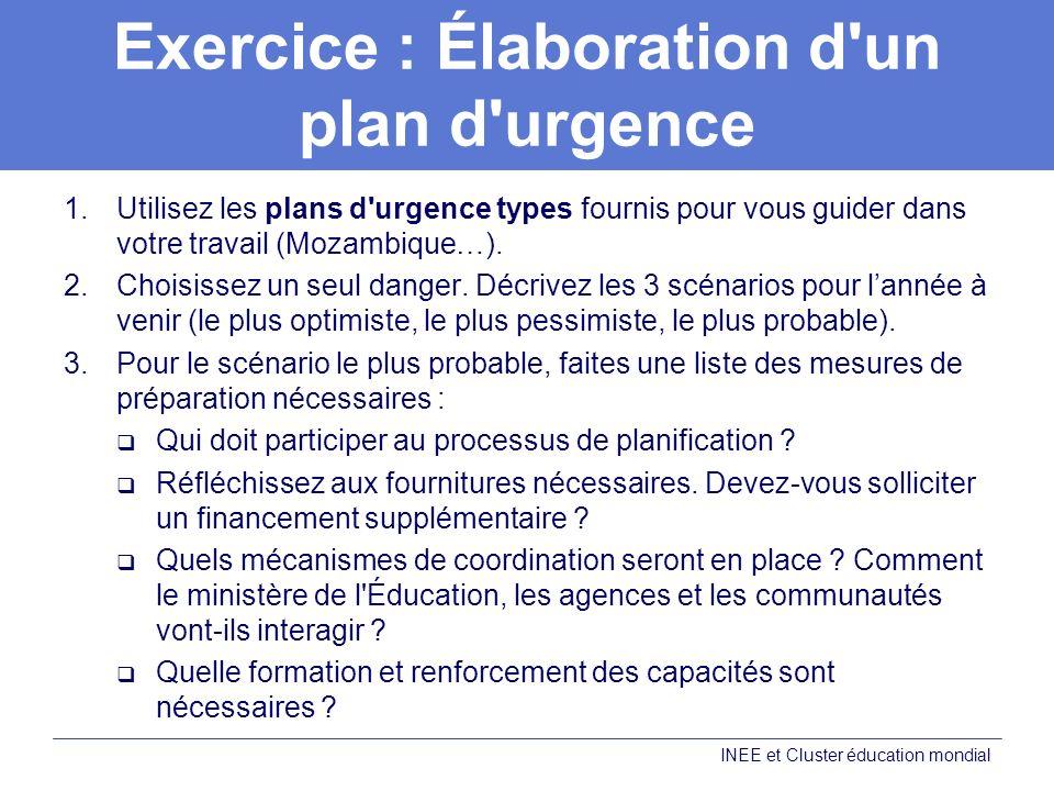 Exercice : Élaboration d un plan d urgence 1.Utilisez les plans d urgence types fournis pour vous guider dans votre travail (Mozambique…).