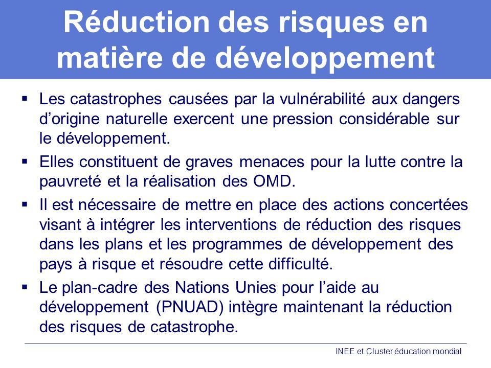 Réduction des risques en matière de développement Les catastrophes causées par la vulnérabilité aux dangers dorigine naturelle exercent une pression considérable sur le développement.