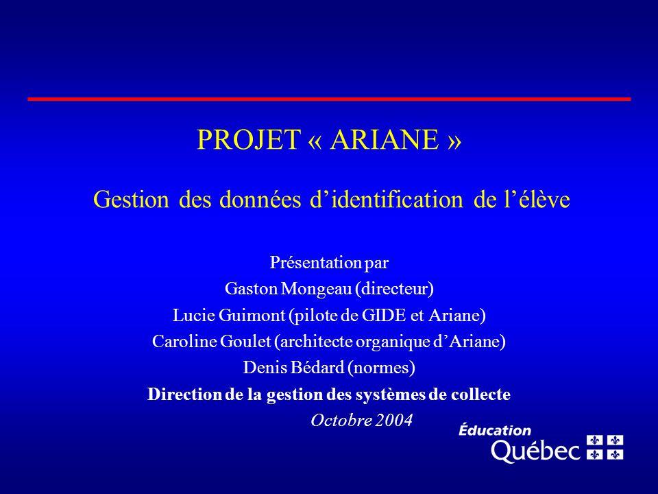 PROJET « ARIANE » Gestion des données didentification de lélève Présentation par Gaston Mongeau (directeur) Lucie Guimont (pilote de GIDE et Ariane) C