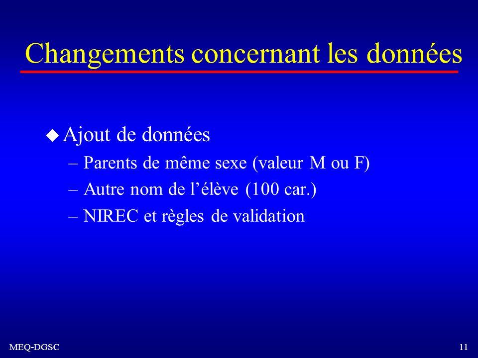 MEQ-DGSC 11 Changements concernant les données u Ajout de données –Parents de même sexe (valeur M ou F) –Autre nom de lélève (100 car.) –NIREC et règl