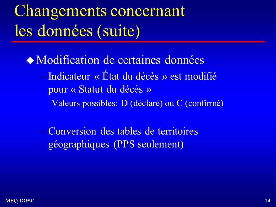 MEQ-DGSC 14 Changements concernant les données (suite) u Modification de certaines données –Indicateur « État du décès » est modifié pour « Statut du