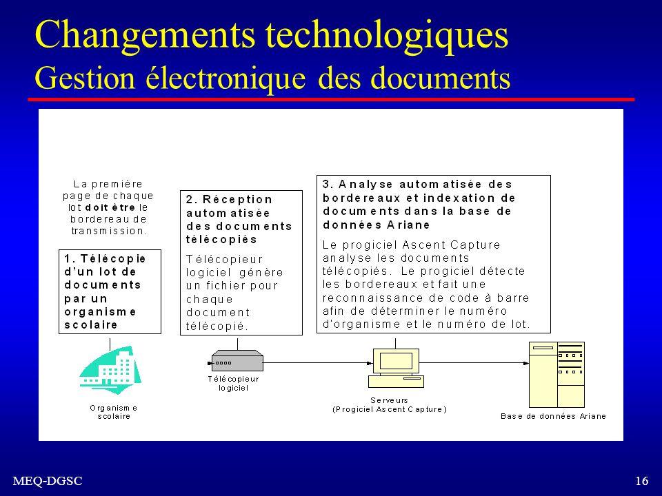MEQ-DGSC 16 Changements technologiques Gestion électronique des documents