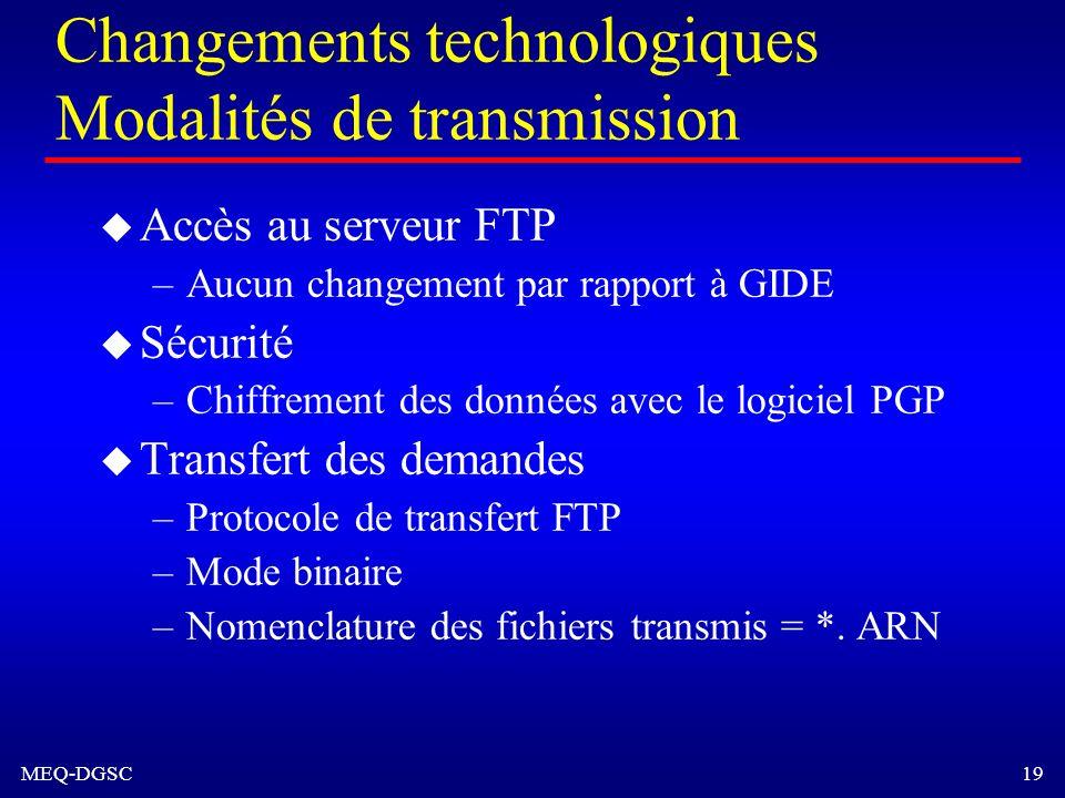 MEQ-DGSC 19 Changements technologiques Modalités de transmission u Accès au serveur FTP –Aucun changement par rapport à GIDE u Sécurité –Chiffrement d