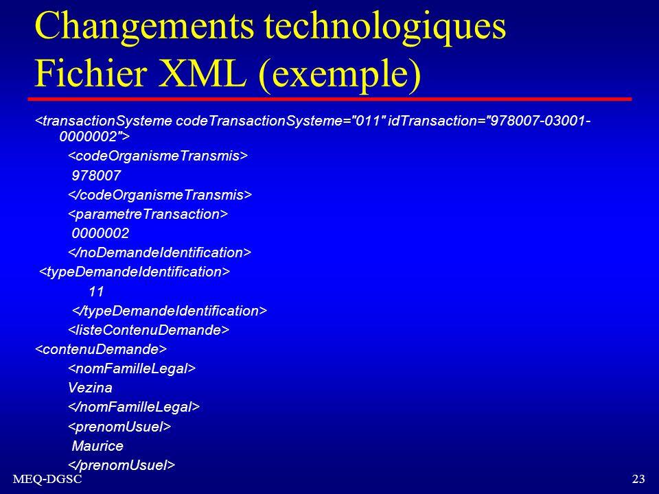 MEQ-DGSC 23 Changements technologiques Fichier XML (exemple) 978007 0000002 11 Vezina Maurice