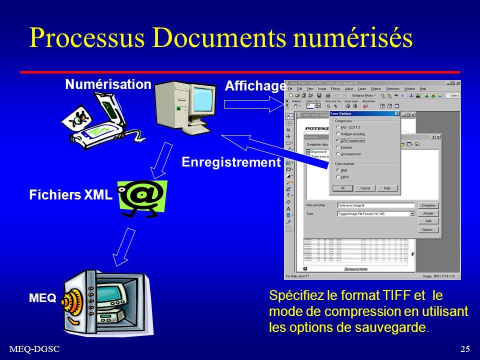 MEQ-DGSC 25 Numérisation Spécifiez le format TIFF et le mode de compression en utilisant les options de sauvegarde. Fichiers XML MEQ Affichage Enregis