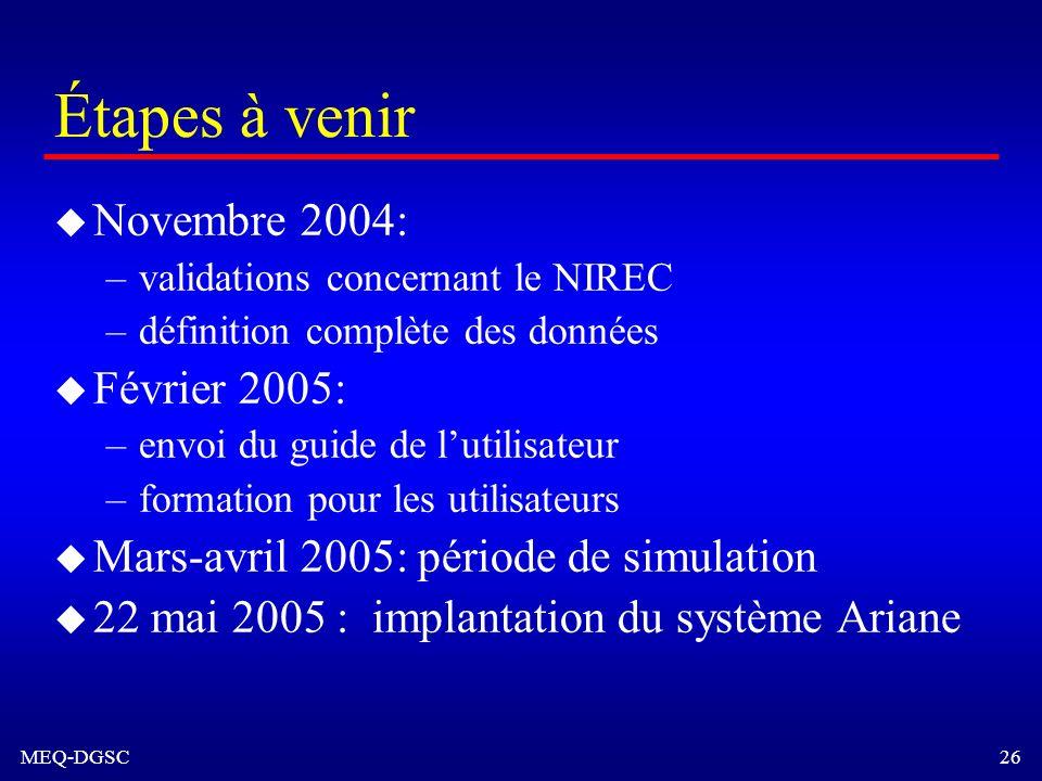 MEQ-DGSC 26 Étapes à venir u Novembre 2004: –validations concernant le NIREC –définition complète des données u Février 2005: –envoi du guide de lutil