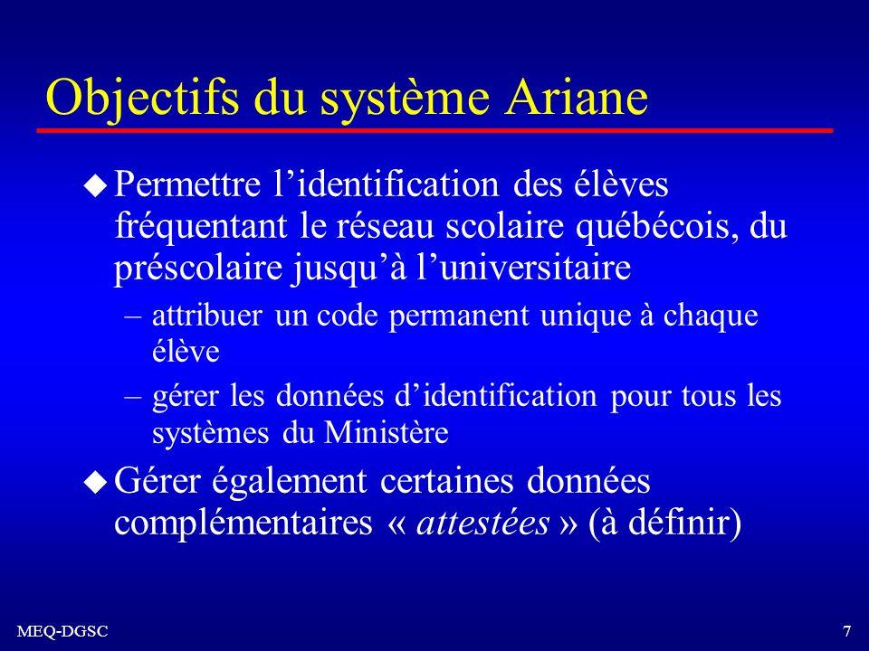 MEQ-DGSC 7 Objectifs du système Ariane u Permettre lidentification des élèves fréquentant le réseau scolaire québécois, du préscolaire jusquà lunivers