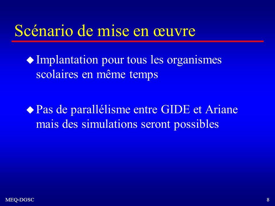MEQ-DGSC 8 Scénario de mise en œuvre u Implantation pour tous les organismes scolaires en même temps u Pas de parallélisme entre GIDE et Ariane mais d