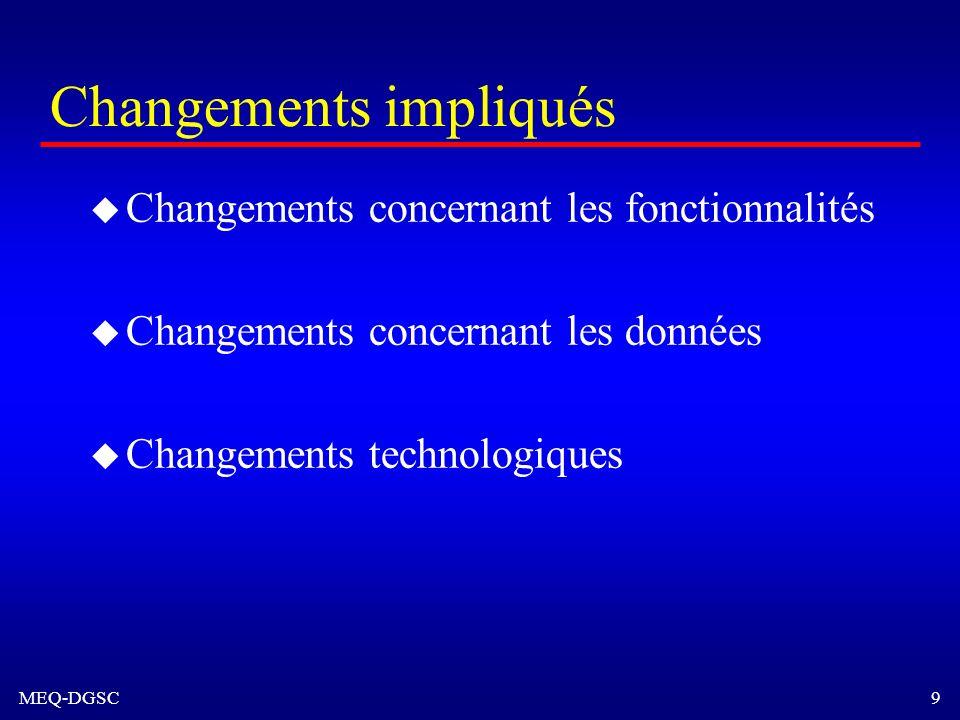 MEQ-DGSC 9 Changements impliqués u Changements concernant les fonctionnalités u Changements concernant les données u Changements technologiques