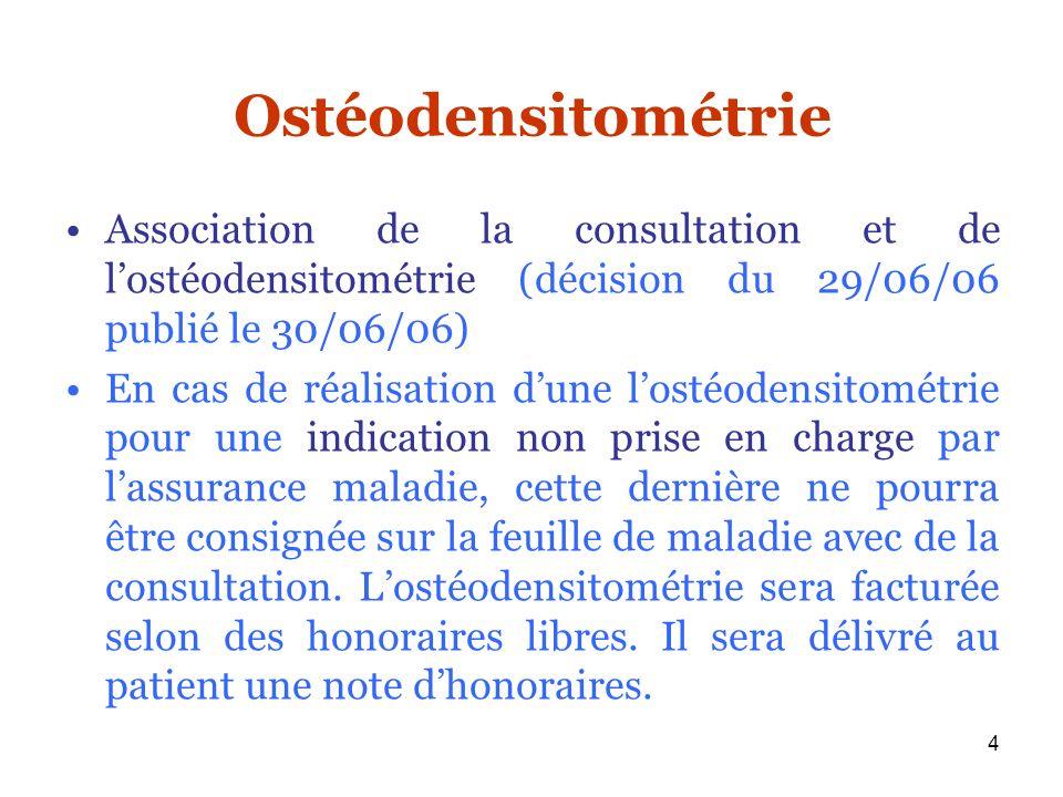 4 Ostéodensitométrie Association de la consultation et de lostéodensitométrie (décision du 29/06/06 publié le 30/06/06) En cas de réalisation dune los