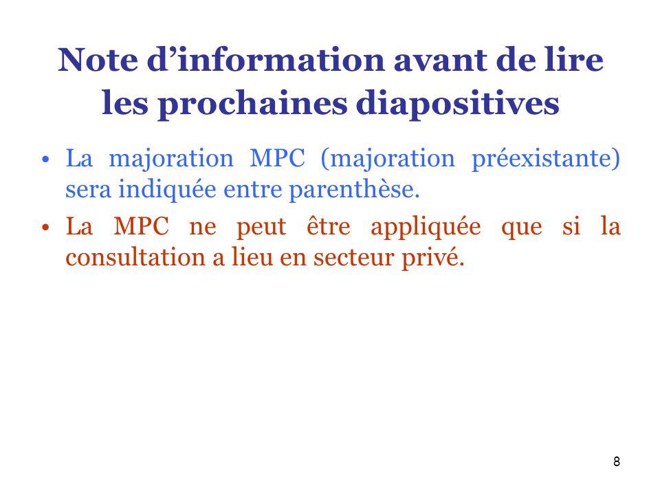8 Note dinformation avant de lire les prochaines diapositives La majoration MPC (majoration préexistante) sera indiquée entre parenthèse. La MPC ne pe
