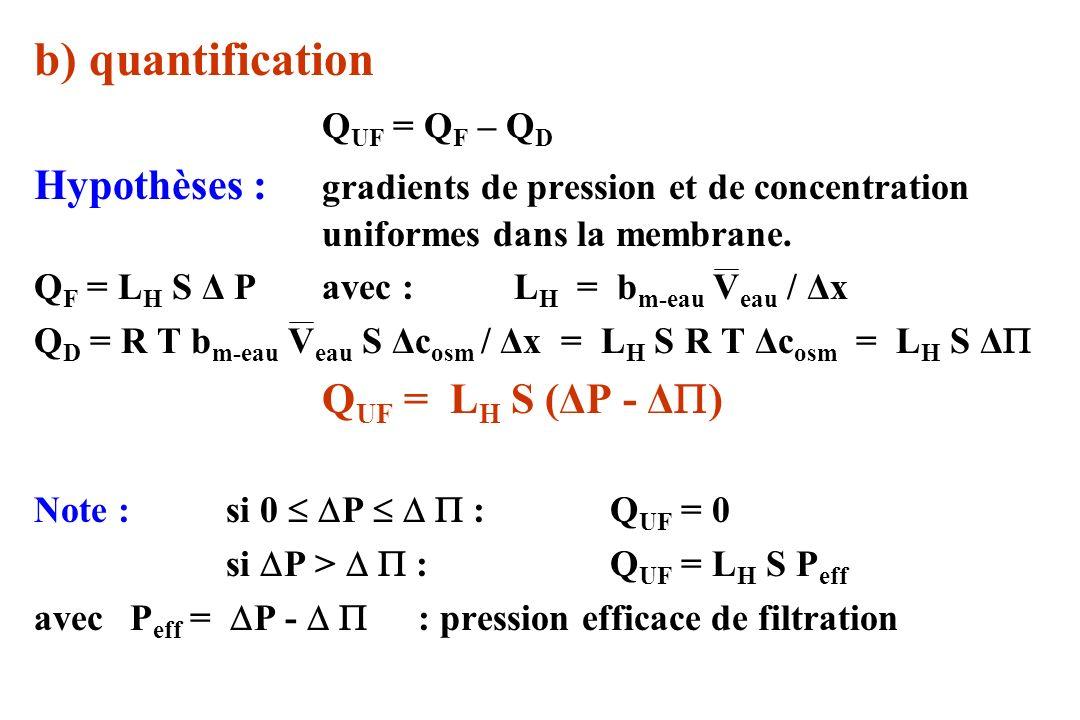 Phénomène de Starling a) description Q UF = L H S P eff en moyenne : Q UF = L H S P eff = L H S (ΔP – ΔΠ) = 0 P Δ P eff 0 Hypothèses :1) Δ constant car fraction filtration << 1 (~ 2 %) 2) ΔP varie artériole veinule Q UF capillaire