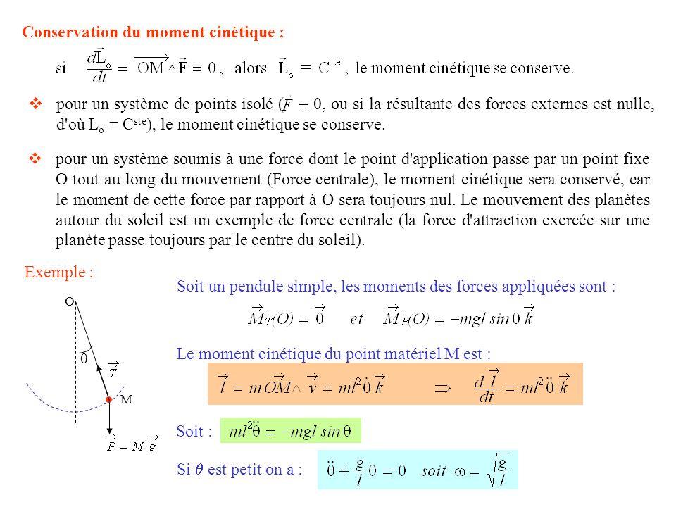 Conservation du moment cinétique : pour un système de points isolé ( 0, ou si la résultante des forces externes est nulle, d'où L o = C ste ), le mome