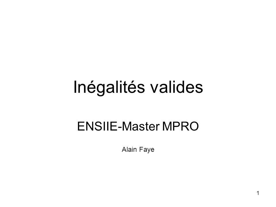 1 Inégalités valides ENSIIE-Master MPRO Alain Faye