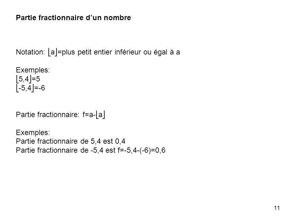 11 Notation: a =plus petit entier inférieur ou égal à a Exemples: 5,4 =5 -5,4 =-6 Partie fractionnaire: f=a- a Exemples: Partie fractionnaire de 5,4 est 0,4 Partie fractionnaire de -5,4 est f=-5,4-(-6)=0,6 Partie fractionnaire dun nombre
