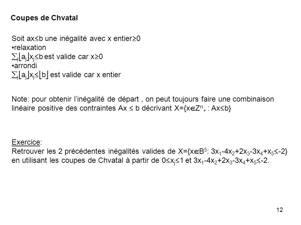 12 Coupes de Chvatal Soit ax b une inégalité avec x entier 0 relaxation j a j x j b est valide car x 0 arrondi j a j x j b est valide car x entier Note: pour obtenir linégalité de départ, on peut toujours faire une combinaison linéaire positive des contraintes Ax b décrivant X={x Z n + : Ax b} Exercice: Retrouver les 2 précédentes inégalités valides de X={x B 5 : 3x 1 -4x 2 +2x 3 -3x 4 +x 5 -2} en utilisant les coupes de Chvatal à partir de 0 x j 1 et 3x 1 -4x 2 +2x 3 -3x 4 +x 5 -2.