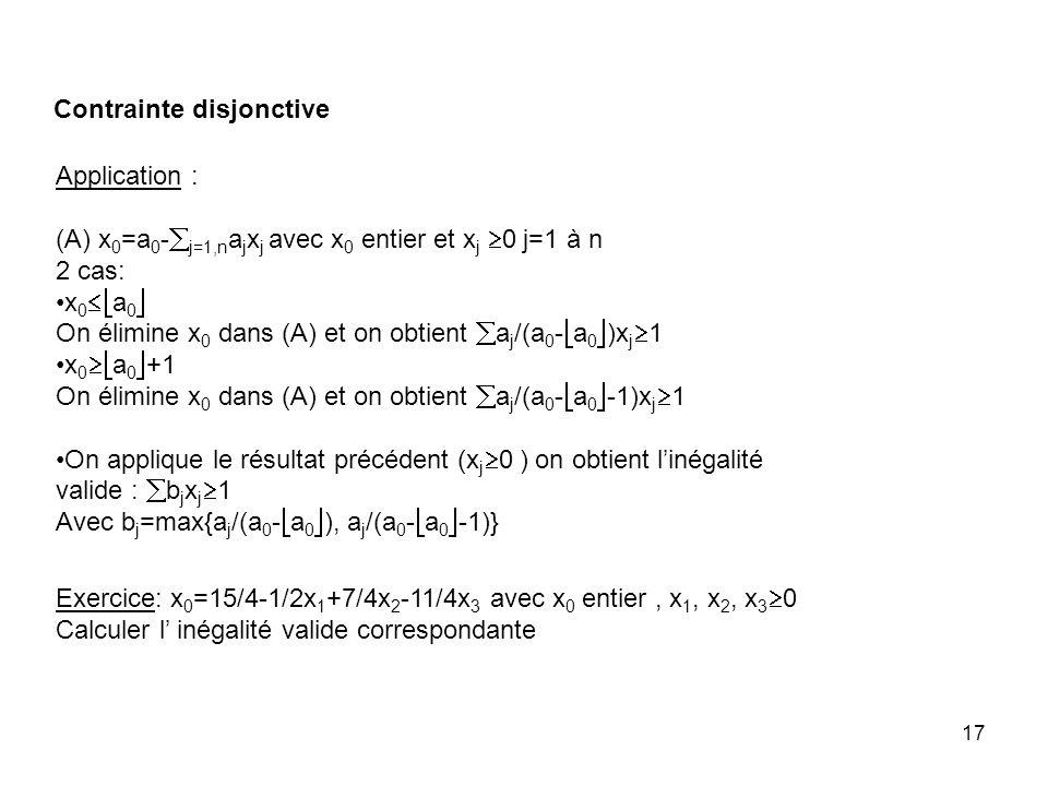 17 Application : (A) x 0 =a 0 - j=1,n a j x j avec x 0 entier et x j 0 j=1 à n 2 cas: x 0 a 0 On élimine x 0 dans (A) et on obtient a j /(a 0 - a 0 )x j 1 x 0 a 0 +1 On élimine x 0 dans (A) et on obtient a j /(a 0 - a 0 -1)x j 1 On applique le résultat précédent (x j 0 ) on obtient linégalité valide : b j x j 1 Avec b j =max{a j /(a 0 - a 0 ), a j /(a 0 - a 0 -1)} Exercice: x 0 =15/4-1/2x 1 +7/4x 2 -11/4x 3 avec x 0 entier, x 1, x 2, x 3 0 Calculer l inégalité valide correspondante Contrainte disjonctive