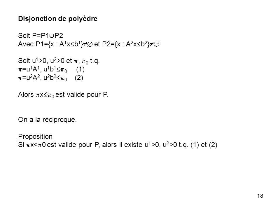 18 Disjonction de polyèdre Soit P=P1 P2 Avec P1={x : A 1 x b 1 } et P2={x : A 2 x b 2 } Soit u 1 0, u 2 0 et, 0 t.q.