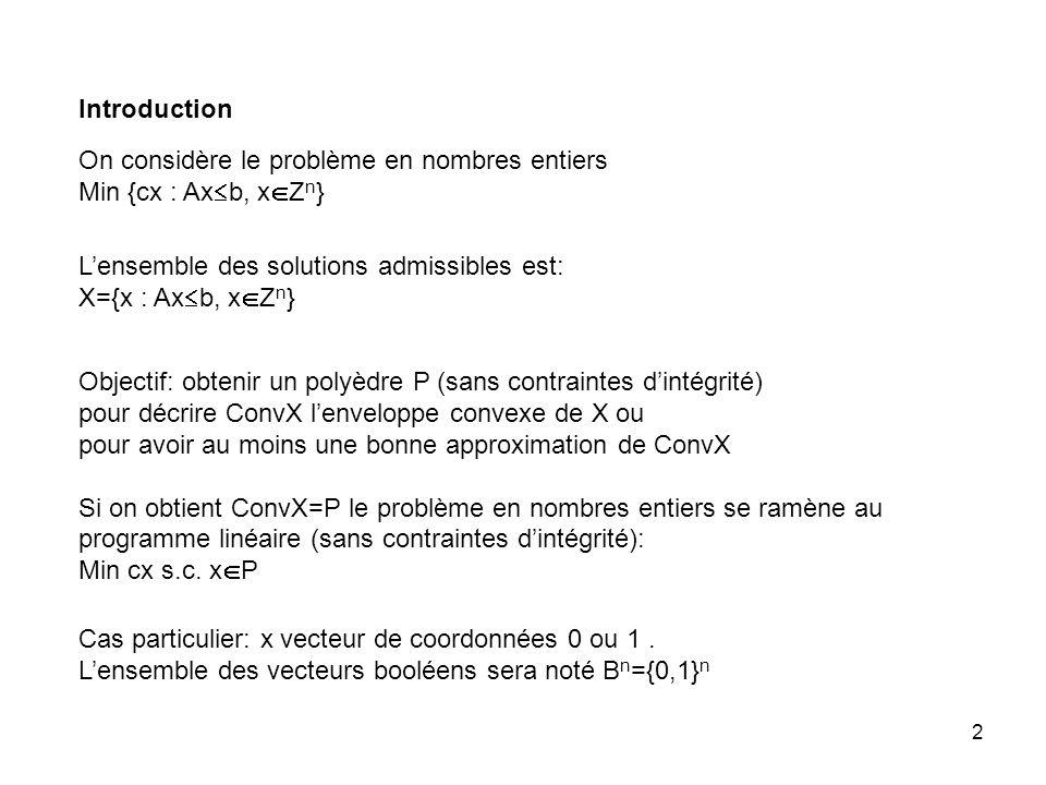 2 Introduction On considère le problème en nombres entiers Min {cx : Ax b, x Z n } Lensemble des solutions admissibles est: X={x : Ax b, x Z n } Objectif: obtenir un polyèdre P (sans contraintes dintégrité) pour décrire ConvX lenveloppe convexe de X ou pour avoir au moins une bonne approximation de ConvX Si on obtient ConvX=P le problème en nombres entiers se ramène au programme linéaire (sans contraintes dintégrité): Min cx s.c.