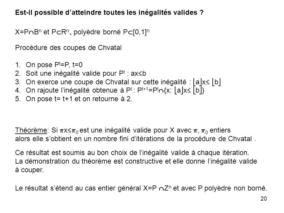 20 Théorème: Si x 0 est une inégalité valide pour X avec, 0 entiers alors elle sobtient en un nombre fini ditérations de la procédure de Chvatal.