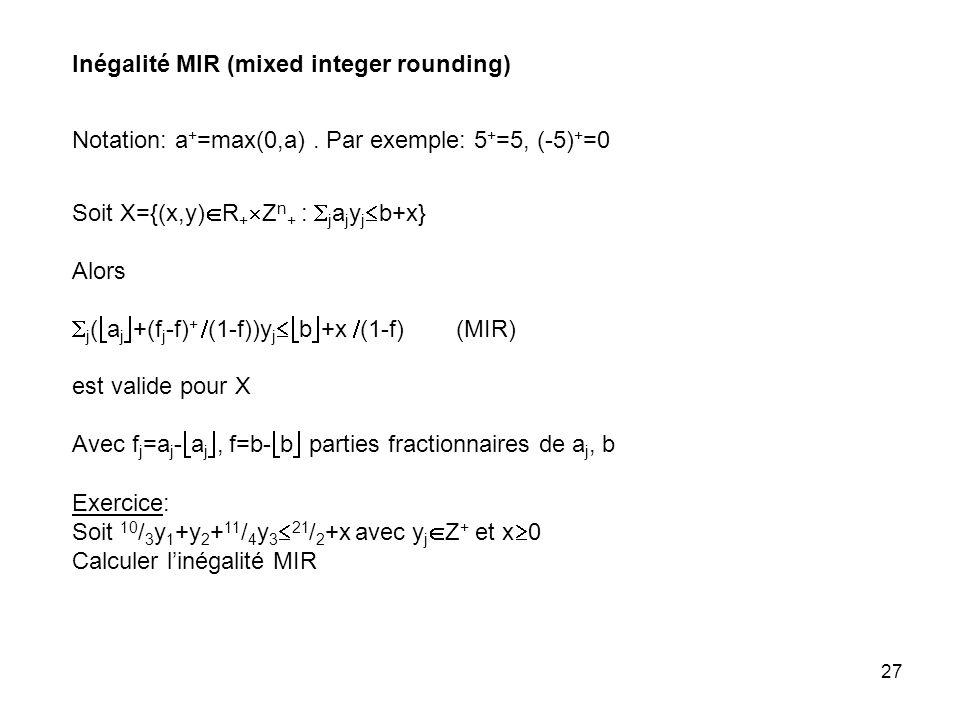 27 Inégalité MIR (mixed integer rounding) Soit X={(x,y) R + Z n + : j a j y j b+x} Alors j ( a j +(f j -f) + (1-f))y j b +x (1-f) (MIR) est valide pour X Avec f j =a j - a j, f=b- b parties fractionnaires de a j, b Exercice: Soit 10 / 3 y 1 +y 2 + 11 / 4 y 3 21 / 2 +x avec y j Z + et x 0 Calculer linégalité MIR Notation: a + =max(0,a).