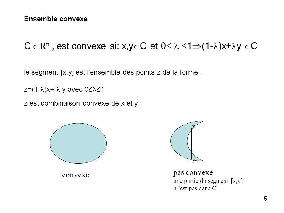 5 C R n, est convexe si: x,y C et 0 1 (1- )x+ y C convexe pas convexe une partie du segment [x,y] n est pas dans C x y le segment [x,y] est l ensemble des points z de la forme : z=(1- )x+ y avec 0 1 Ensemble convexe z est combinaison convexe de x et y