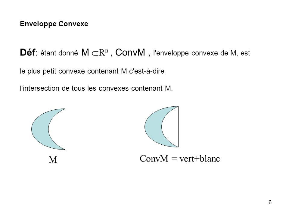 6 Déf : étant donné M R n, ConvM, l enveloppe convexe de M, est le plus petit convexe contenant M c est-à-dire l intersection de tous les convexes contenant M.