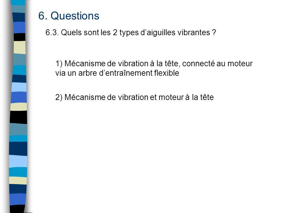 6. Questions 6.3. Quels sont les 2 types daiguilles vibrantes ? 1) Mécanisme de vibration à la tête, connecté au moteur via un arbre dentraînement fle