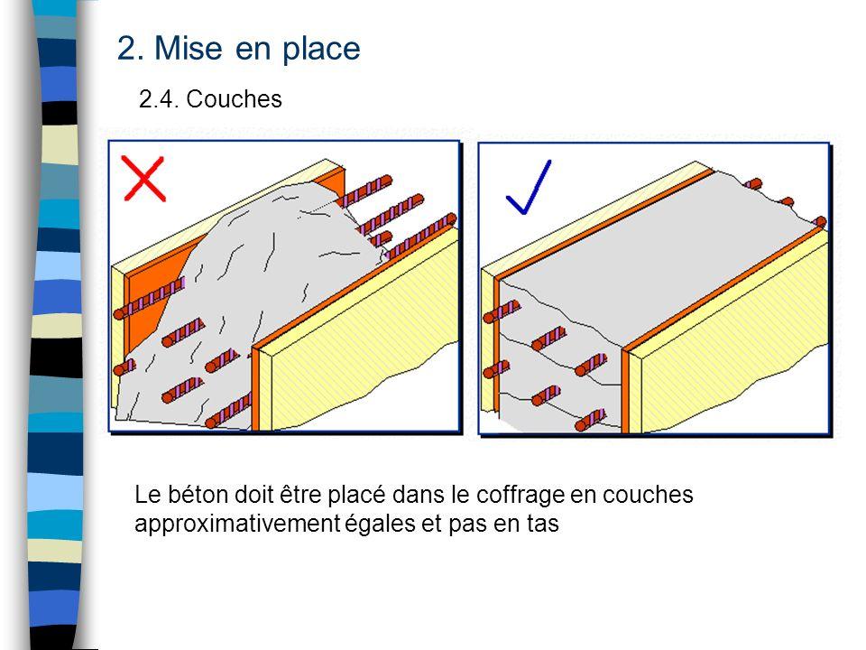 2.4. Couches 2. Mise en place Le béton doit être placé dans le coffrage en couches approximativement égales et pas en tas