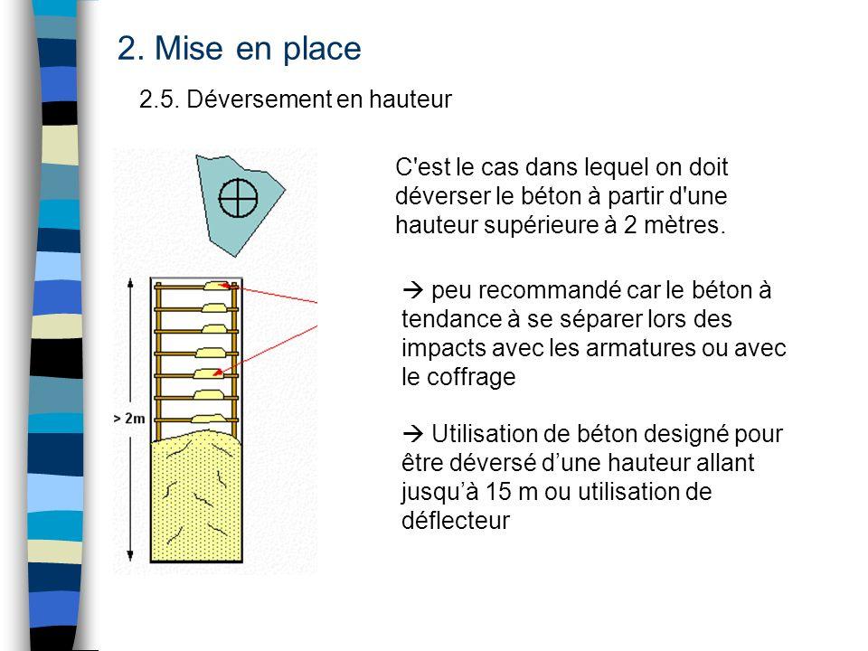 2.5. Déversement en hauteur 2. Mise en place C'est le cas dans lequel on doit déverser le béton à partir d'une hauteur supérieure à 2 mètres. peu reco