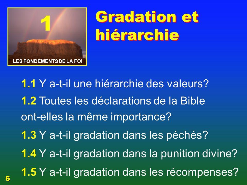 1 Y a-t-il une gradation et une hiérarchie dans les valeurs.