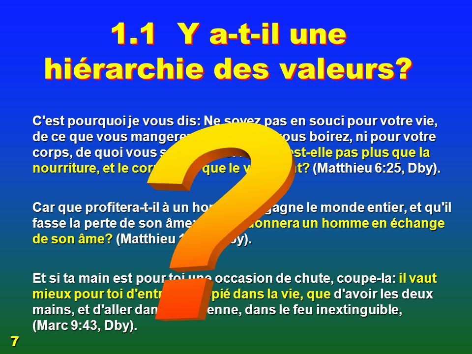 Gradation et hiérarchie 1.1 Y a-t-il une hiérarchie des valeurs.