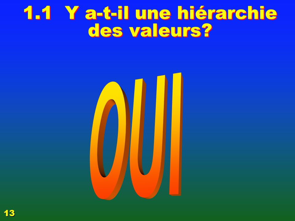 1.1 Y a-t-il une hiérarchie des valeurs? 13