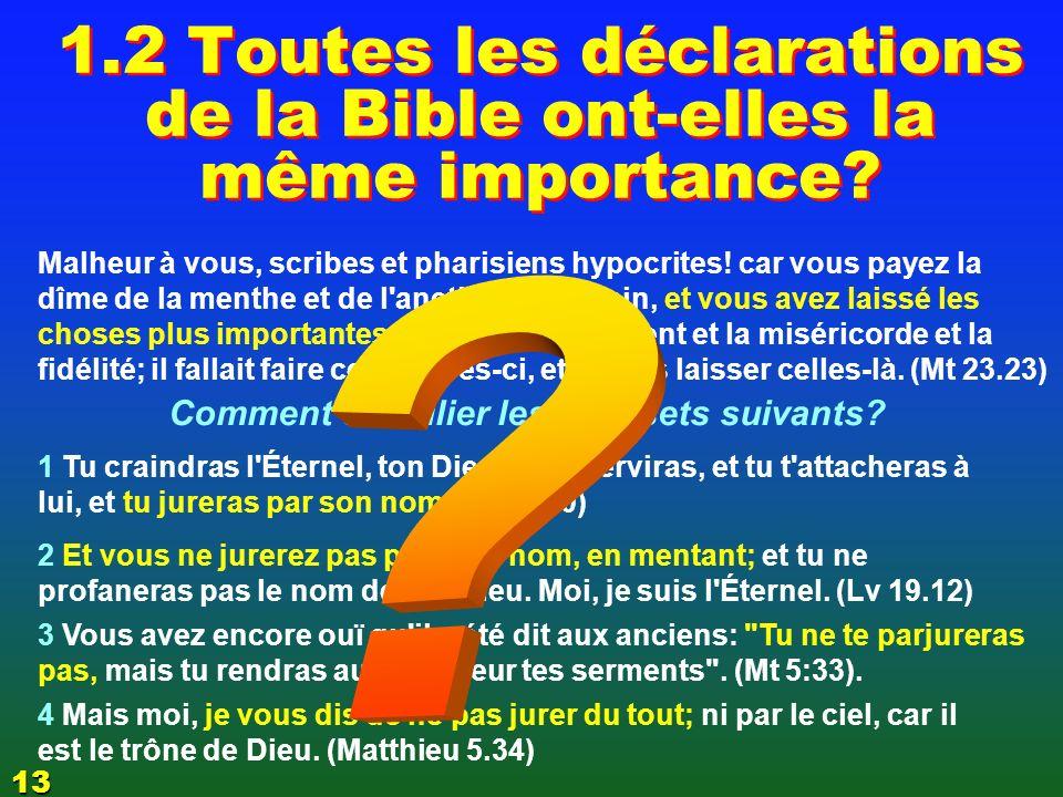 Récapitulons 1.1 1.1 Il y a une hiérarchie des valeurs 1.2 1.2 Toutes les déclarations de la Bible nont pas la même importance 1.3 1.3 Il y a une gradation dans les péchés 1.4 1.4 Il y a une gradation dans la punition divine 1.5 1.5 Il y a une gradation dans les récompenses LES FONDEMENTS DE LA FOI 1 61
